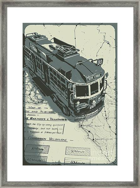 Urban Trams And Old Maps Framed Print