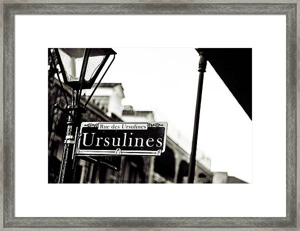 Ursulines In Monotone, New Orleans, Louisiana Framed Print