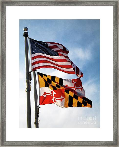 Us And Maryland Flags Framed Print