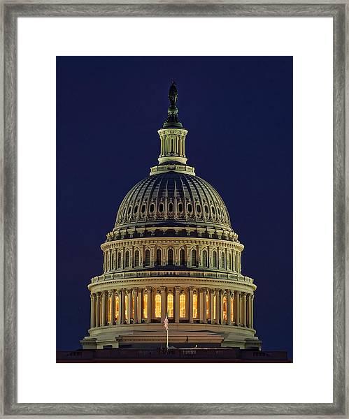 U.s. Capitol At Night Framed Print