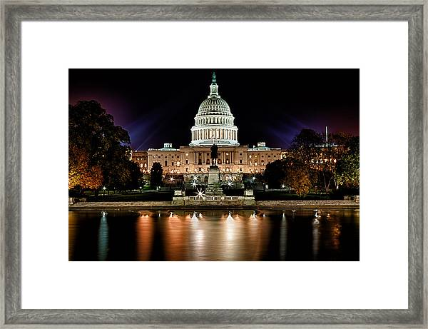 Us Capitol Building And Reflecting Pool At Fall Night 3 Framed Print