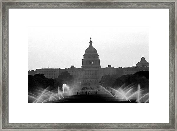 Us Capitol On Summer Morning Framed Print