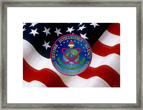 U. S. Defense Intelligence Agency - D I A Emblem Over Flag Framed Print