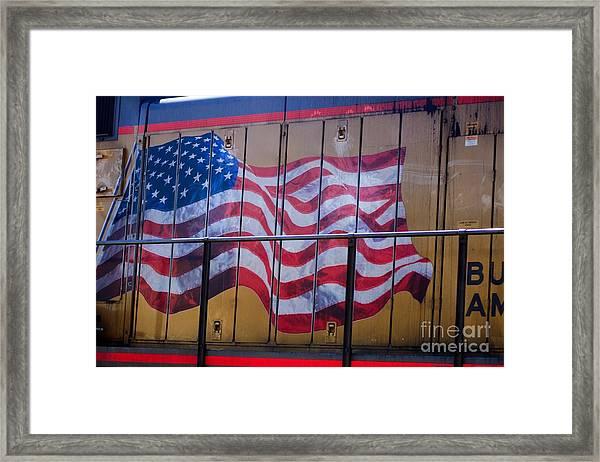 Us Flag On Side Of Freight Engine Framed Print