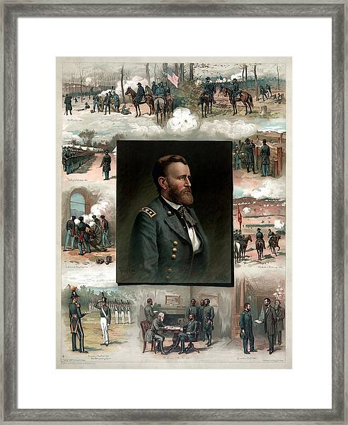 Us Grant's Career In Pictures Framed Print