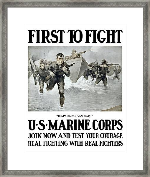 Us Marine Corps - First To Fight  Framed Print