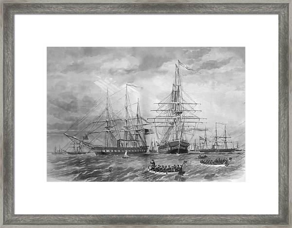 U.s. Naval Fleet During The Civil War Framed Print