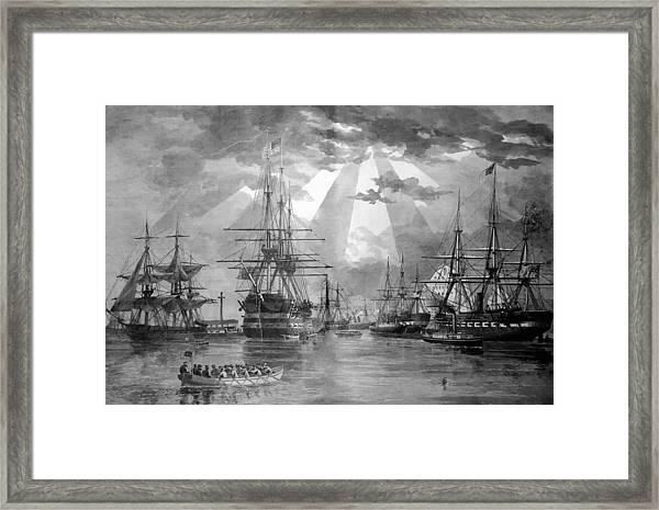 U.s. Naval Ships At The Brooklyn Navy Yard Framed Print