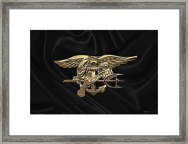 U.s. Navy Seals Trident Over Black Flag Framed Print