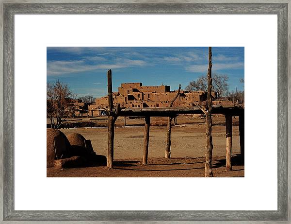 Usa - Taos Pueblo New Mexico Framed Print by Jacqueline M Lewis