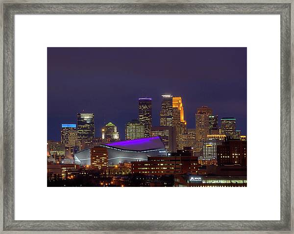 Usbank Stadium Dressed In Purple Framed Print