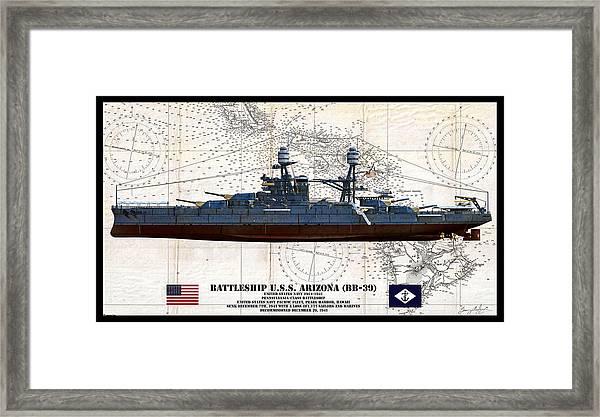 Uss Arizona Bb-39 Profile Art Framed Print