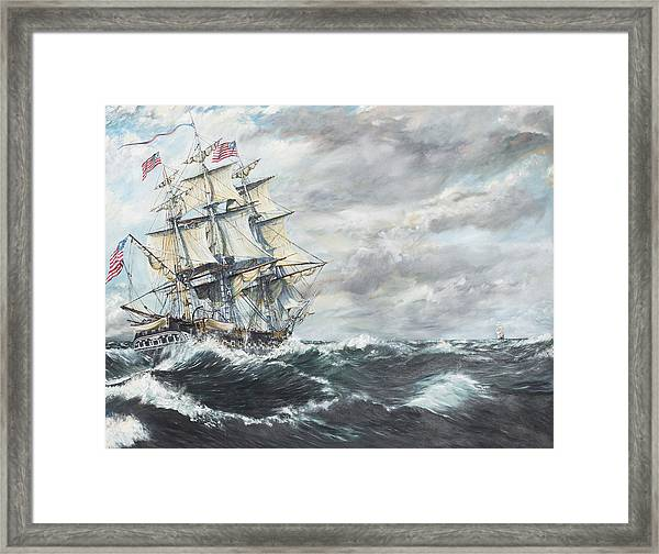 Uss Constitution Heads For Hm Frigate Guerriere Framed Print