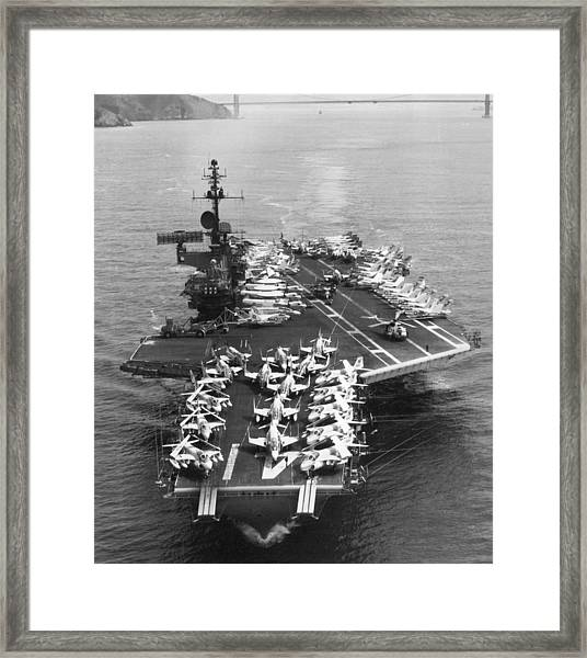 Uss Midway Leaves Sf Framed Print