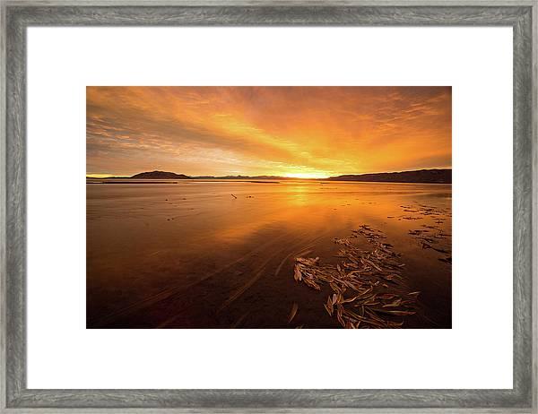 Utah Lake Sunset Framed Print