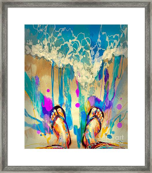 Framed Print featuring the painting Vacation Time by Tithi Luadthong