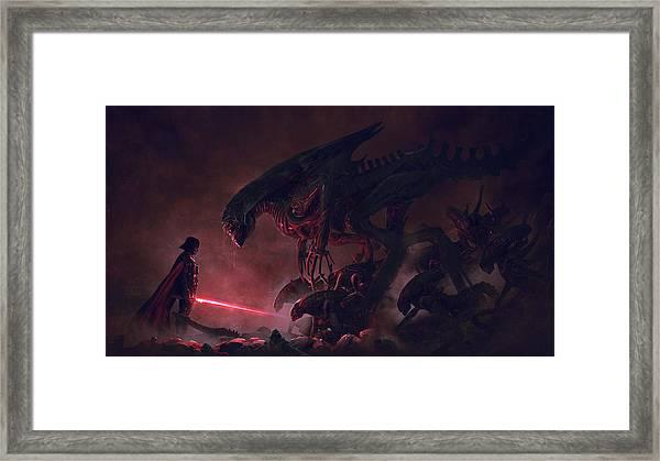 Vader Vs Aliens 4 Framed Print