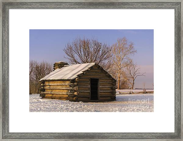 Valley Forge Cabin At Sunset Framed Print