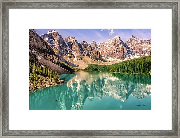 Framed Print featuring the photograph Valley Of Ten Peaks by Claudia Abbott
