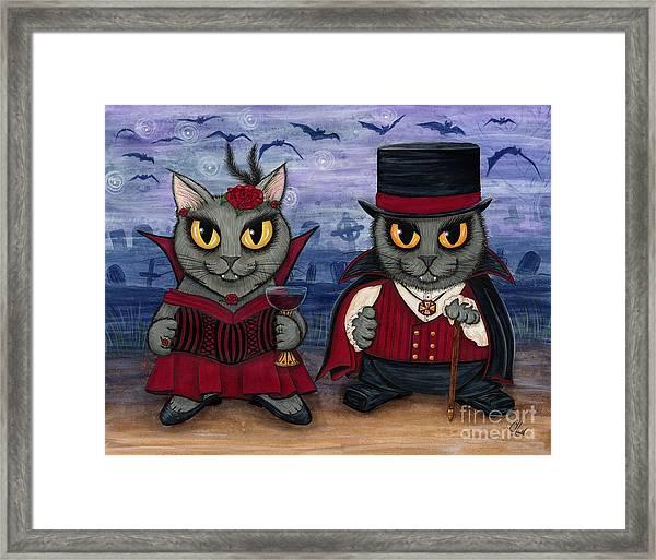 Vampire Cat Couple Framed Print