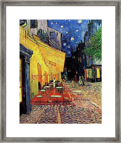 Van Gogh Cafe Terrace Place Du Forum At Night Framed Print by Vincent Van Gogh