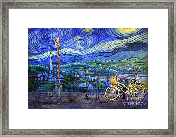 Van Gogh's Yellow And Green Bicycles Framed Print