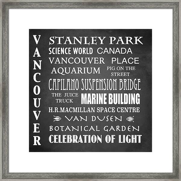 Vancouver Famous Landmarks Framed Print