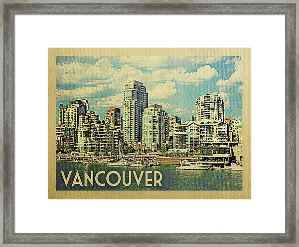 Vancouver Travel Poster Framed Print by Flo Karp
