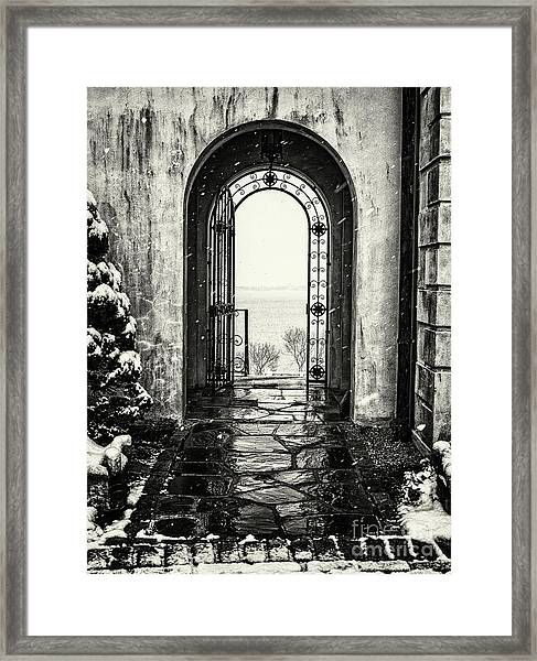 Vanderbilt Doorway In Centerport Framed Print