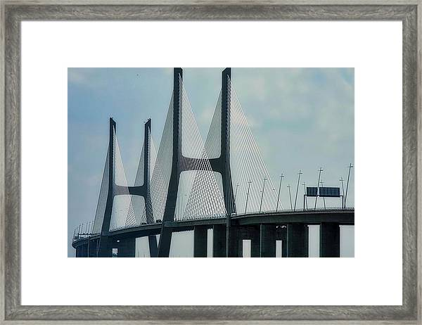 Vasco Da Gama Bridge In Lisbon Framed Print