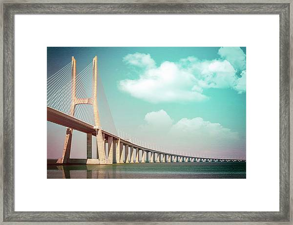 Vasco Da Gama Bridge Lisbon Portugal  Framed Print