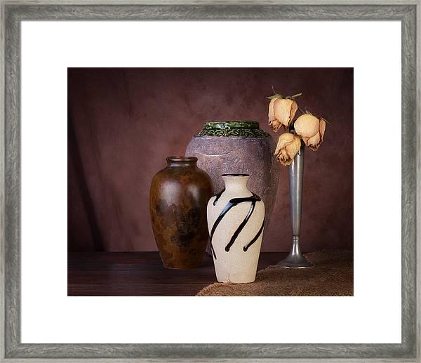 Vase And Roses Still Life Framed Print