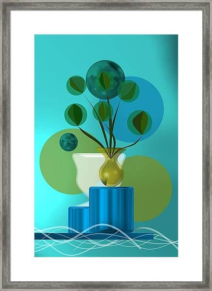 Vase With Bouquet Over Blue Framed Print