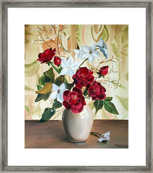 Vase With Red And White Flowers Framed Print