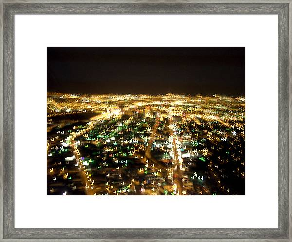 Vegas Ariel At Night Framed Print