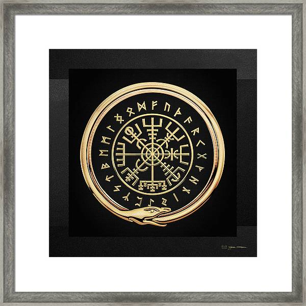Vegvisir - A Magic Icelandic Viking Runic Compass - Gold On Black Framed Print