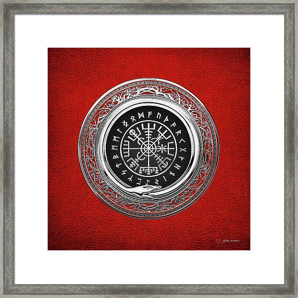 Vegvisir - A Silver Magic Viking Runic Compass On Red Leather  Framed Print