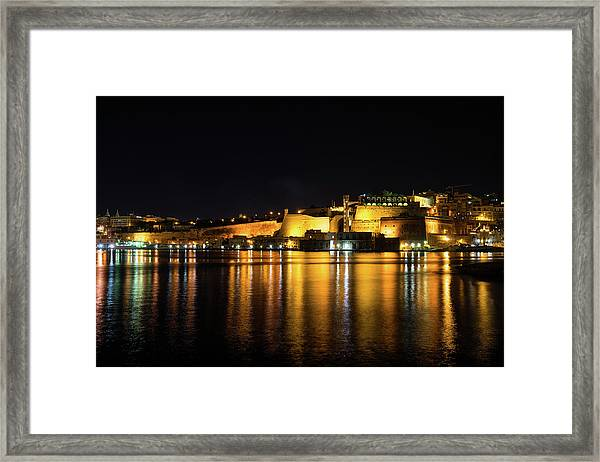 Velvety Reflections - Valletta Grand Harbour At Night Framed Print