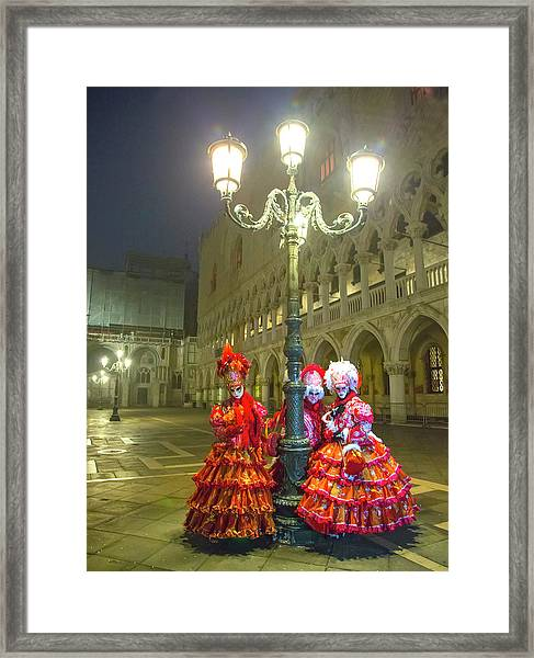 Venetian Ladies In San Marcos Square Framed Print