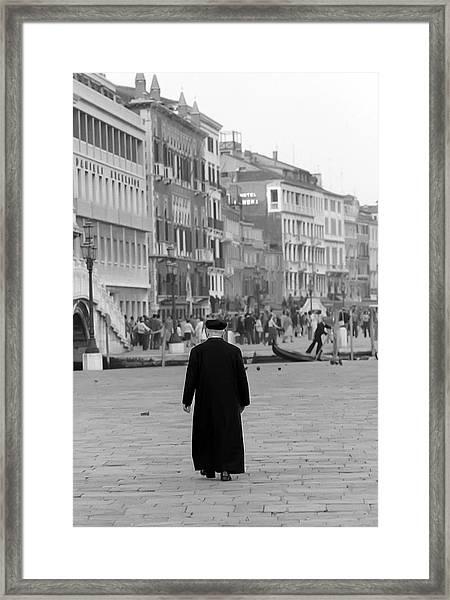 Venetian Priest And Gondola Framed Print