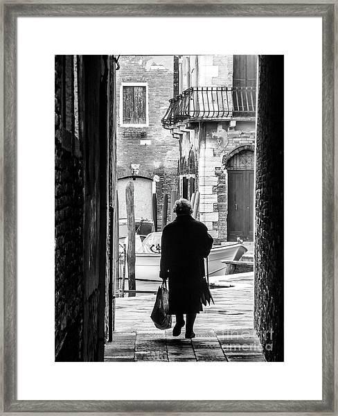 Venetian Silhoutte Lady Framed Print