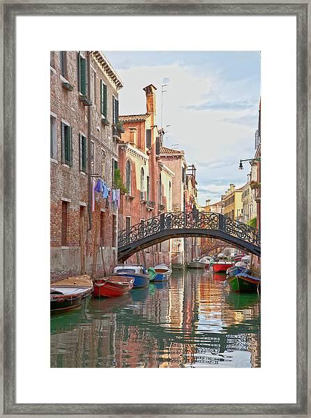 Venice Bridge Crossing 5 Framed Print
