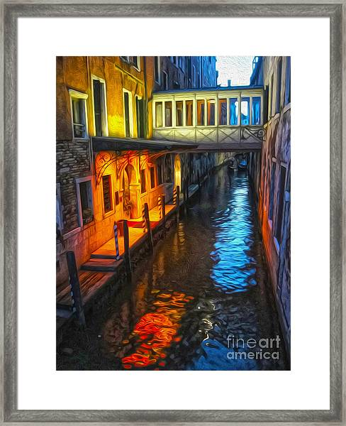 Venice Italy - Colorful Canal At Night Framed Print