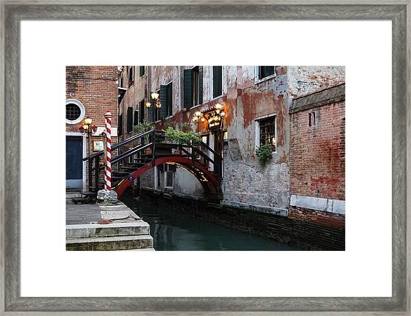 Venice Italy - The Cheerful Christmassy Restaurant Entrance Bridge Framed Print