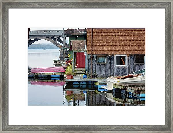 Framed Print featuring the photograph Venice On The Big Muddy Winona Mn Boathouses by Kari Yearous