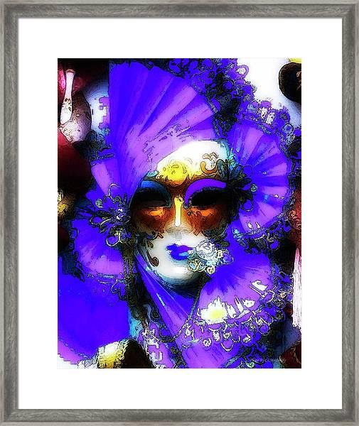 Venice Purple Carnival Mask Framed Print