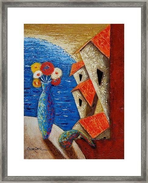 Framed Print featuring the painting Ventana Al Mar by Oscar Ortiz