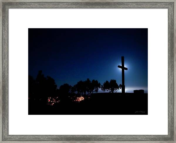 Ventura Ca Cross At Moonset Framed Print