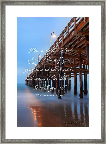 Ventura Ca Pier With Bible Verse Framed Print