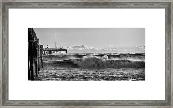 Ventura Pier El Nino 2016 Framed Print